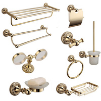 Luxury solid brass bathroom accessories antique gold polished double cup holder wall mounted bathroom hardware set products