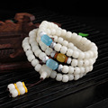 Natural Pure White Bodhi Root 108 Opal Agate Lovers Bracelets Tibetan Rosary Buddhist Prayer Beads