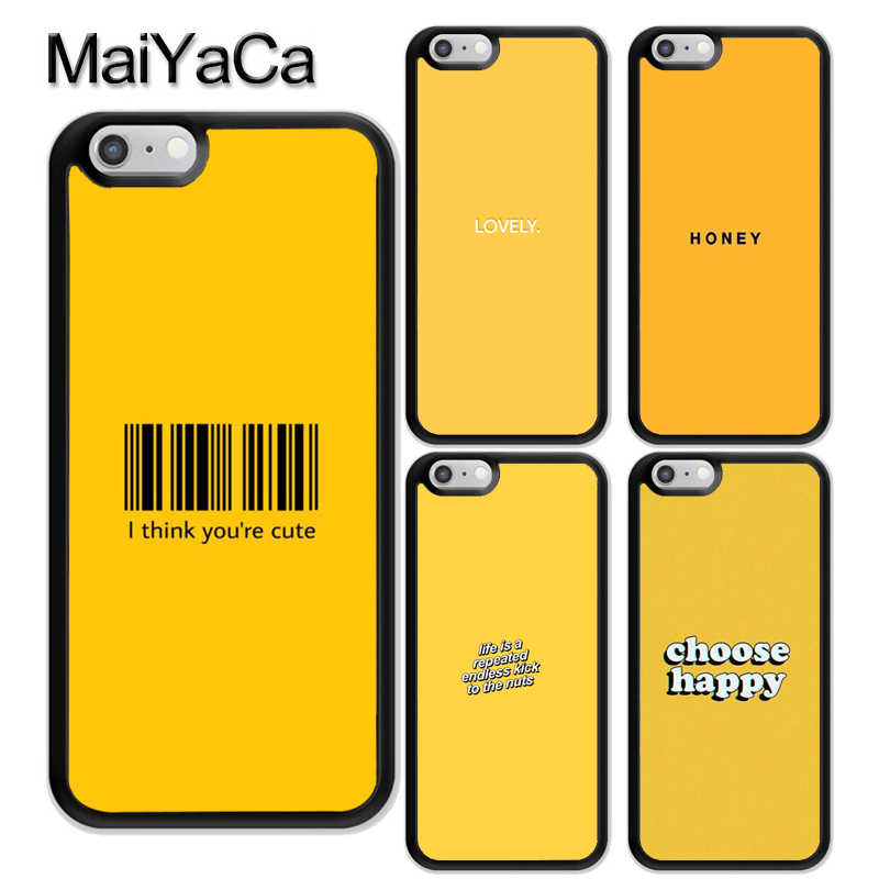 MaiYaCa Honey Yellow Aesthetic Quotes Printed Soft TPU Coque Skin Phone  Case For iPhone X XR XS Max 6 6S 7 8 Plus 5 5S SE Cover
