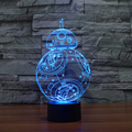 7 Cores mudança Nightlight Criativa Visual 3D Star Wars CONDUZIU a Lâmpada para As Crianças Tocar Interruptor de Candeeiro de Mesa de Acrílico com a Linha do USB IY803320