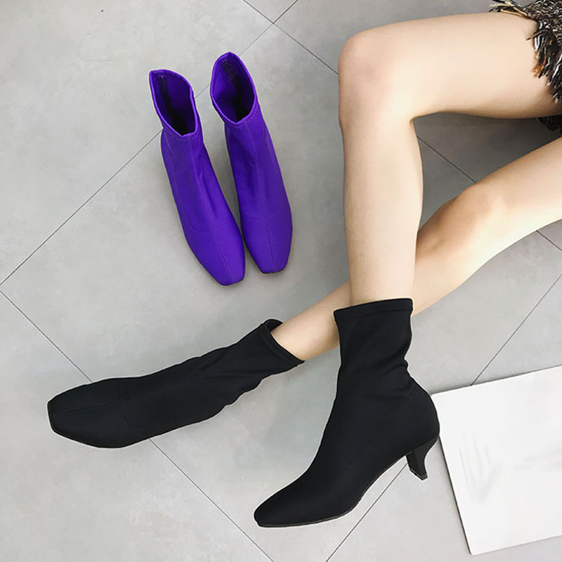 Womens High Heel Boots Sexy Silk Elastic Ankle Boots Women Stiletto Heel Thigh High Boots Fashion Square Toe Party Dress Shoes women s high heels women pumps sexy bride party square heel square toe rivets high heel shoes