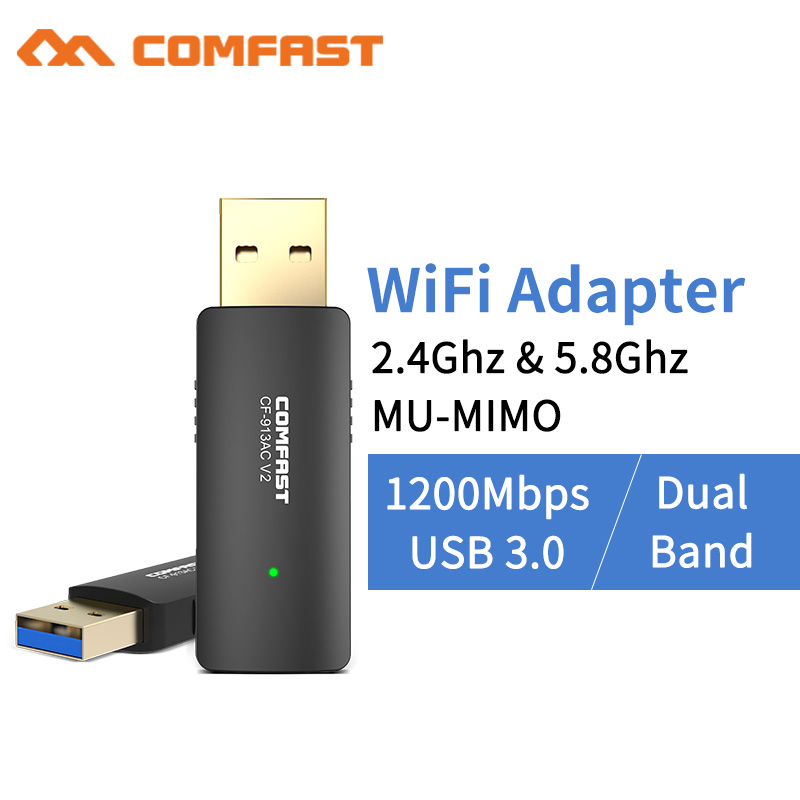 10pcs 802.11AC Gigabit High Speed USB 3.0 Wifi Receiver AC 1200Mbps Wireless WiFi USB Adapter Dual Band 2.4/5Ghz Network Card