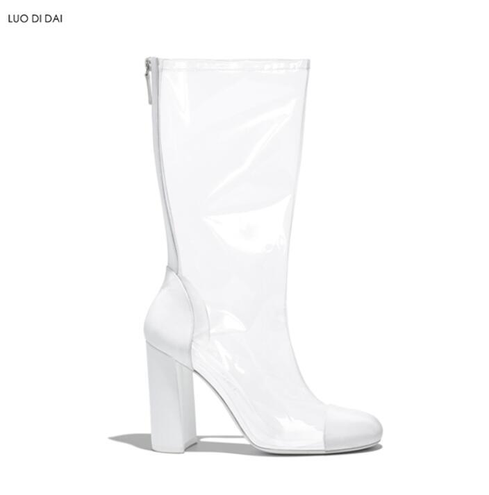 Botas as Las Grueso Tacón Zapatos Pvc Moda Sexy La 2019 De Pic As Claro Gladiador Lluvia Pic Mujeres Xqw5Bg