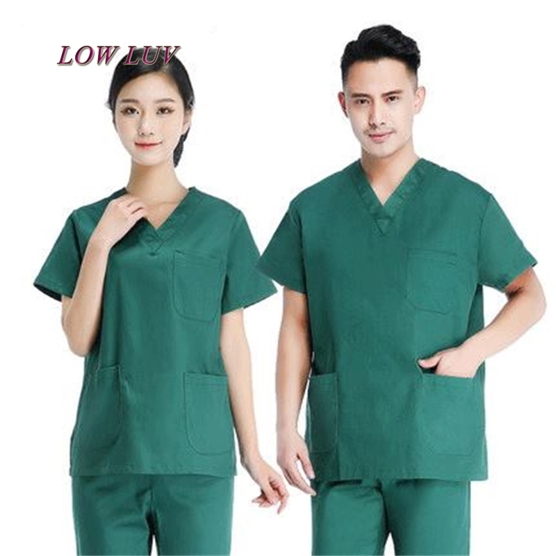 2017 Women's V neck Summer men Short sleeve Nurse Uniform Hospital pants Medical Set Clothes Short Sleeve Surgical Scrubs