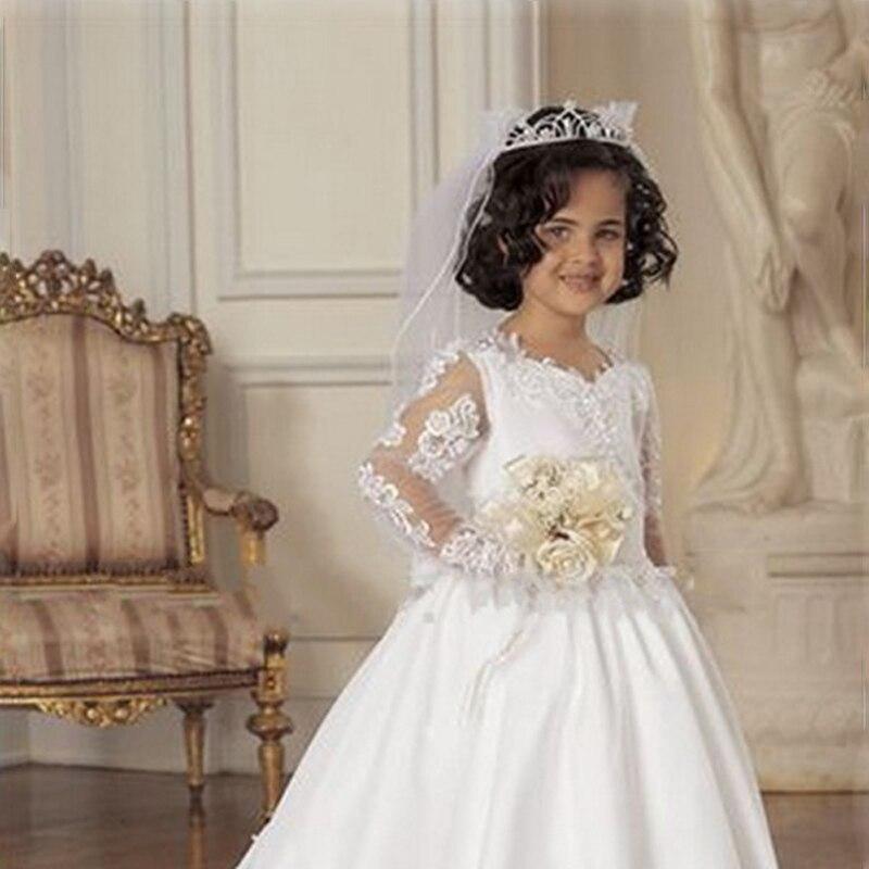1bf9a1e7da Modest Long White Flower Girl Dress With Veil Scoop Neck Full Sleeves  A-Line Appliques Beading Ruffles Flower Girl Dresses