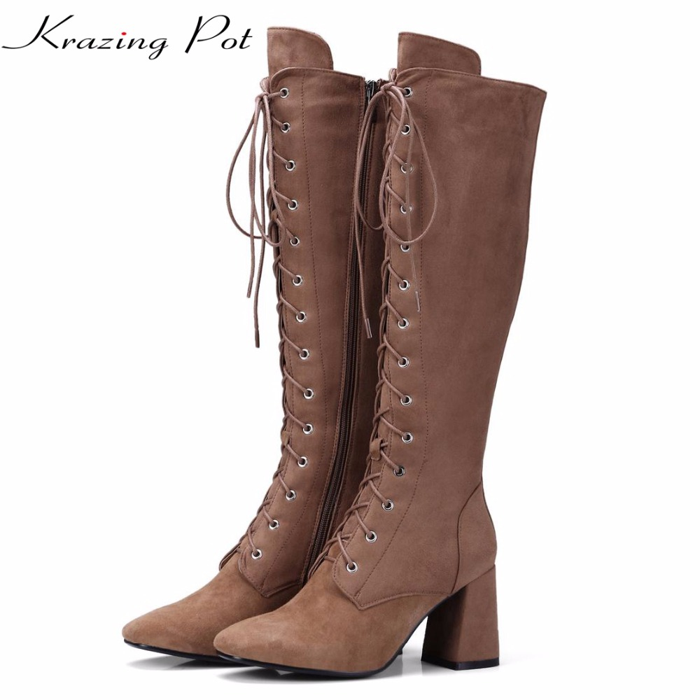 Krazing Pot 2018 sheep suede high street fashion high heels lace up boots woman round toe keep warm solid thigh high boots L16 krazing pot empty after shallow shoes woman lace work flats pointed toe slip on sheep suede causal summer outside slippers l16