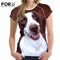 FORUDESIGNS Dogs Female T Shirt Kawaii 3D Tee Brand T Shirts Harajuku Style Soft Slim Elastic