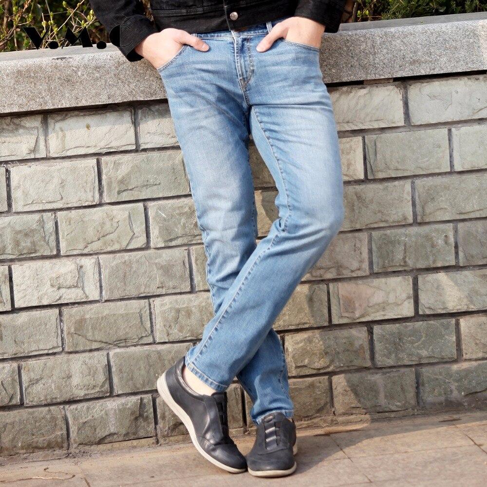 2017 New design Spring Famous Brand Men Slim Jeans male 100% Cotton Straight Pants VMC Brand Long Denim Trousers