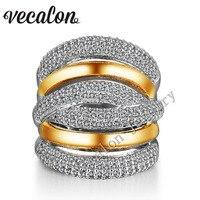 Vecalon 234 шт. камень AAAAA Циркон Cz Крест обручение обручальное кольцо для женщин 14KT белый желтый Золотое покрытие женский кольцо
