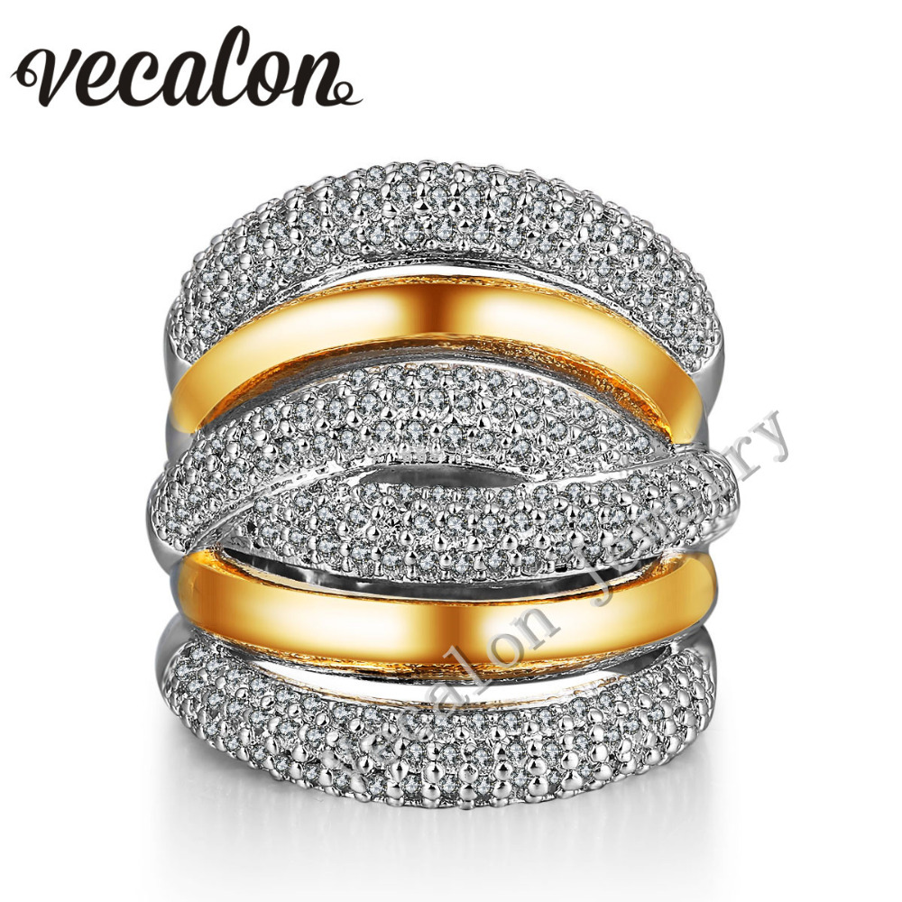 все цены на Vecalon 234pcs stone AAAAA Zircon Cz Cross Engagement Wedding ring for Women 14KT White Yellow Gold Filled Female Band ring онлайн