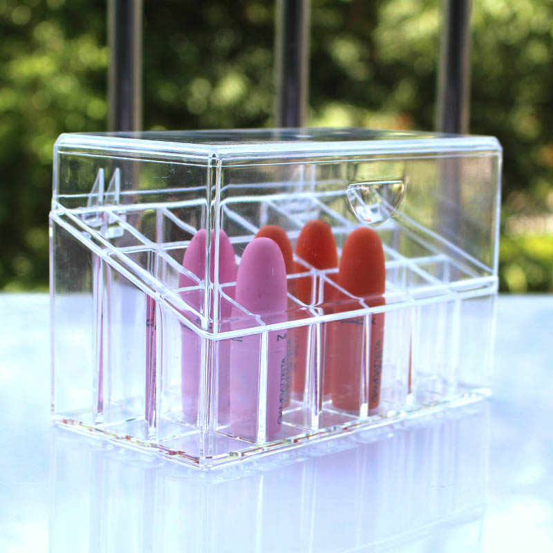 Acrylic Makeup Organizer Cosmetic Organizer Container Transparent Flip Lipstick Storage Box Makeup Box for Nail Polish Holder