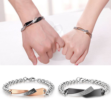 1PC 2 Colors Couple Bracelet Stainless Steel Bracelets Jewelry Charms Lover Tanabata Personalized Gift