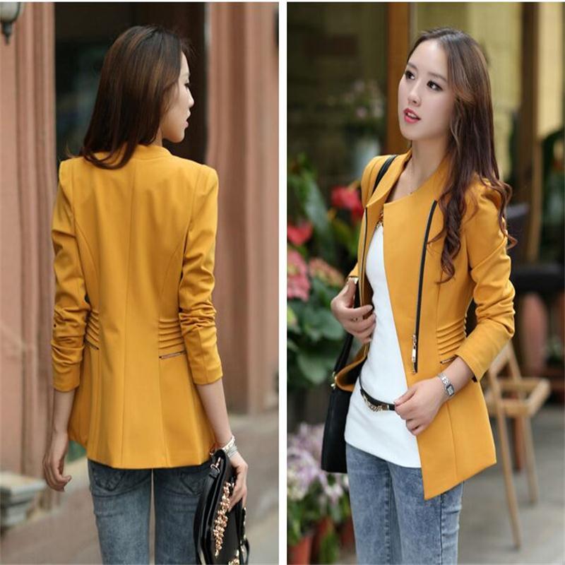 2018 New Fashion Women Solid Zipper Blazers Long Sleeve Slim Small Leisure Suit Jacket Female Brand Women Blazers 3Colors S-XXL