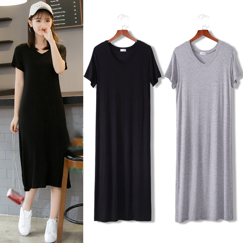 Summer Long T shirt Women Dress Black T-shirt Short Sleeve Big Size Thin Long Women Tops Tees Female T-shirt Dress