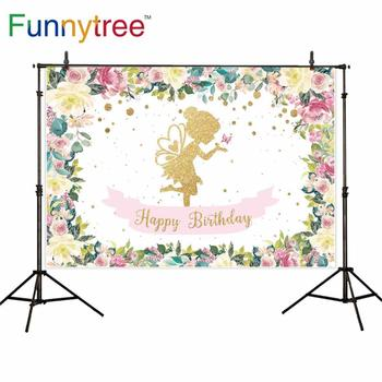 Funnytree photography backdrop fairy princess birthday party flower girl background photophone custom photo studio shoot prop image