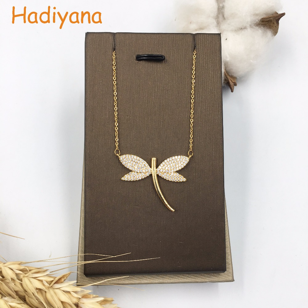 Hadiyana Cubic Zircon Dragonfly Shape Brand Pendant Necklace White Gold For Lady Cute Special Fashion Gift Lover XL112