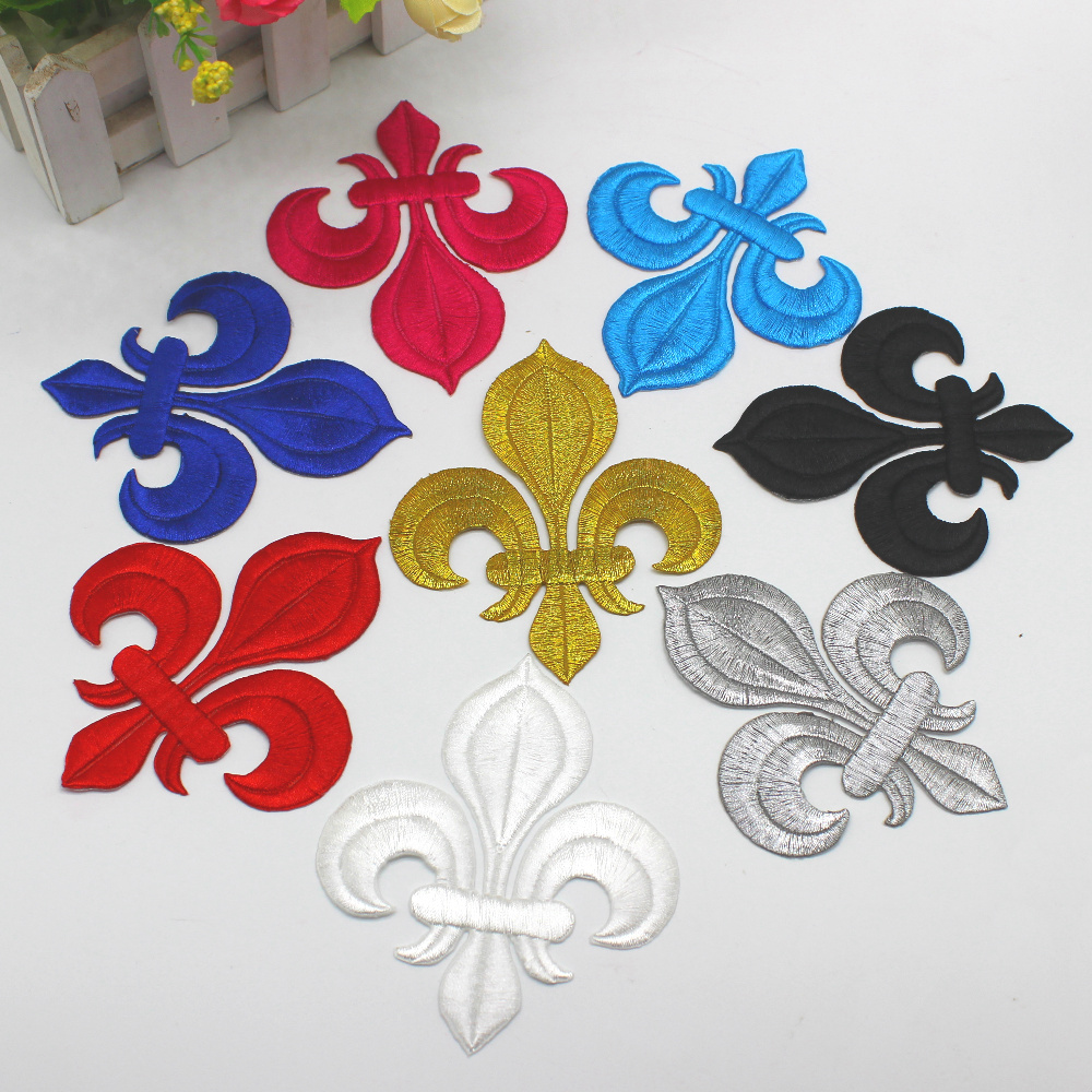 NON Adhesive Backing 13cm Large Lotus Sew on Appliques Embroidered Patches