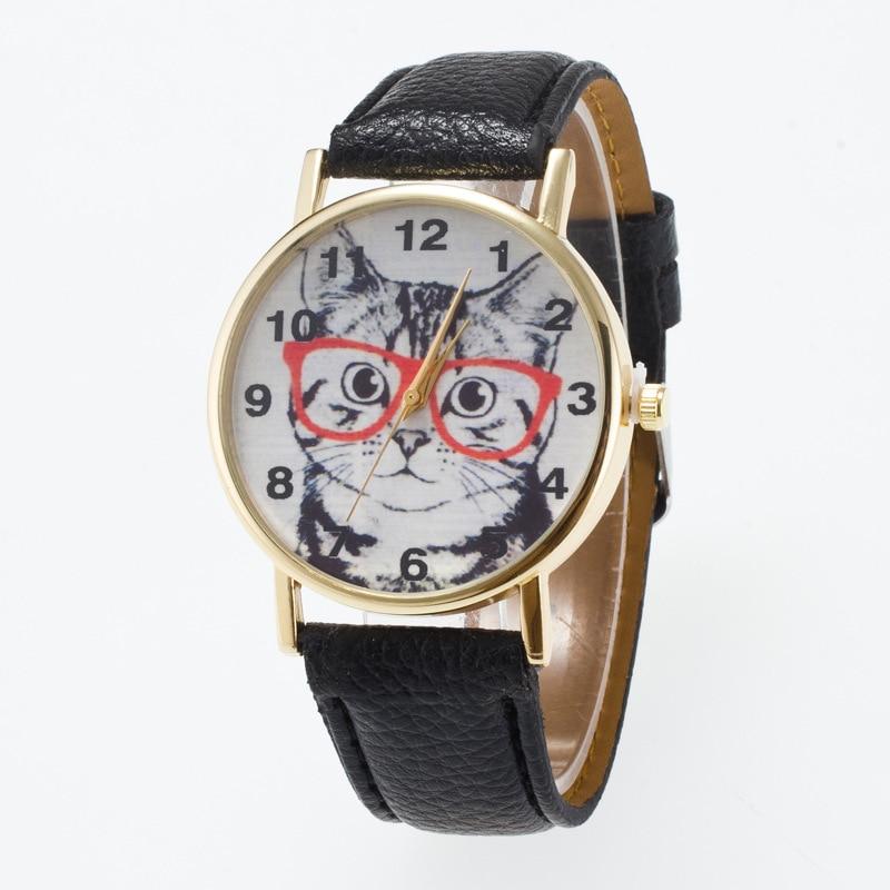 ✅14 colores Marcos grande gato cara patrón relojes mujer reloj de ...