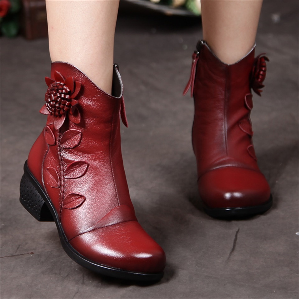 Autumn and winter new style female boots handmade ethnic style rough with womens shoes leather ladies cotton women bootsAutumn and winter new style female boots handmade ethnic style rough with womens shoes leather ladies cotton women boots