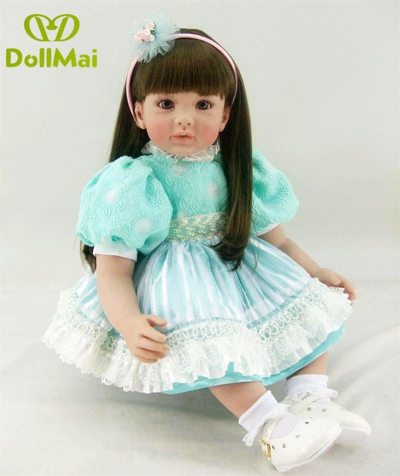 Silicone Reborn Baby Doll Toys 60cm vinly Princess girl toddler time dolls toys children birthday present bebe boneca poupee