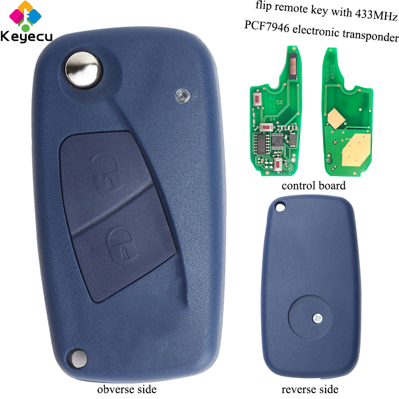 KEYECU Replacement Flip Remote Key - 2 Buttons & 434MHz & PCF7946 - FOB for Fiat Punto Ducato Stilo Panda Central _ Blue Color kutery 3 buttons flip folding remote key case shell cover fob for fiat punto panda stilo ducato bravo anahtar guscio chiave key