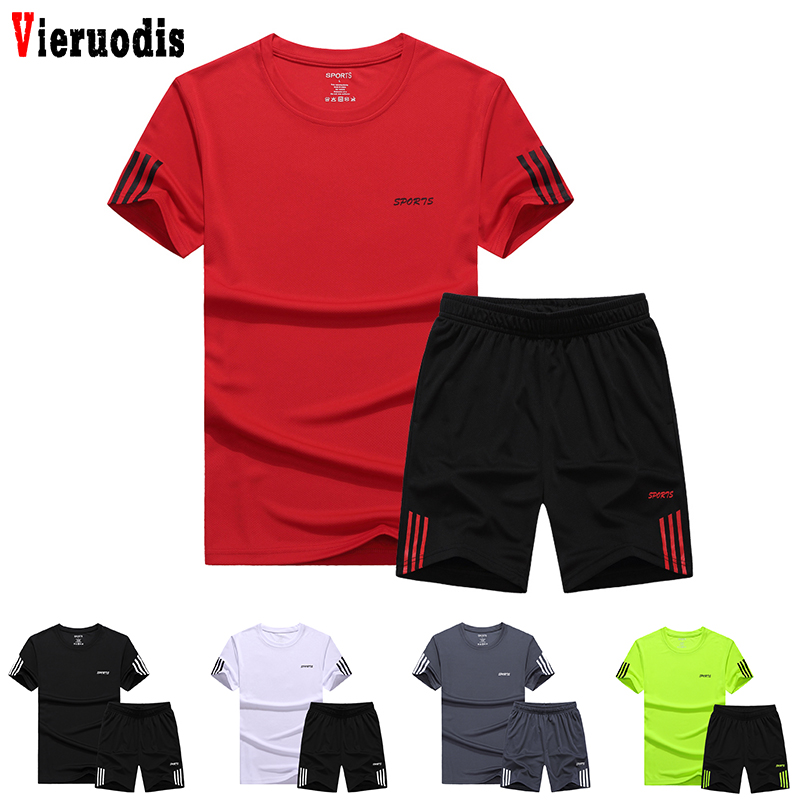 Men Casual Two Pieces Suit 2019 Summer Set Short Sleeve T-shirt & Male Streetwear Shorts Sets Tracksuit Man Short Sportswear Set