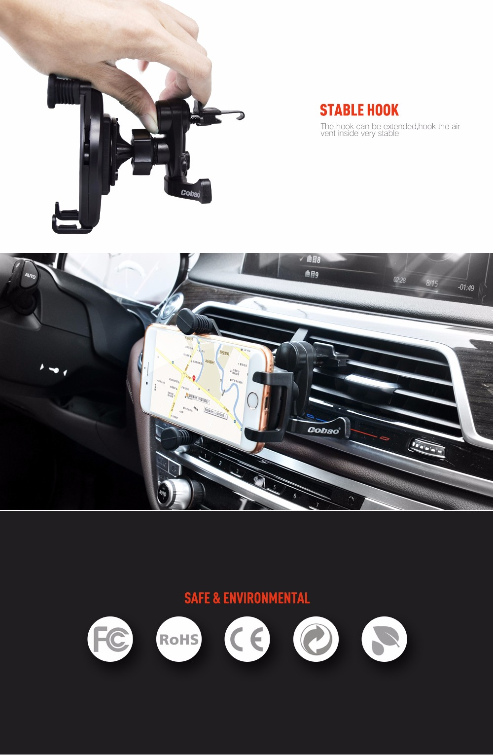 אוניברסלי 360 לרכב אוטומטי אוורור הר מחזיק עבור iPhone עבור טלפון הסלולרי של סמסונג GPS לרכב מחזיק טלפון אוורור