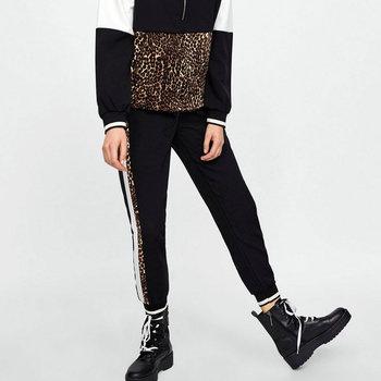 새로운 여성 레오파드 인쇄 하렘 바지 하이 웨스트 캐주얼 패션 빈티지 바지 가을 봄 모든 일치하는 여성 바지