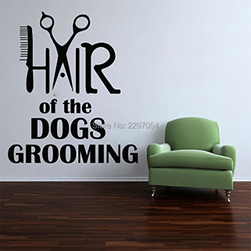 Pet Shop Vinyl Wall Decal Quote Hair Of Dog Grooming Salon Decal Comb Scissors Wall Sticker Pet Salon Grooming Salon Decoration