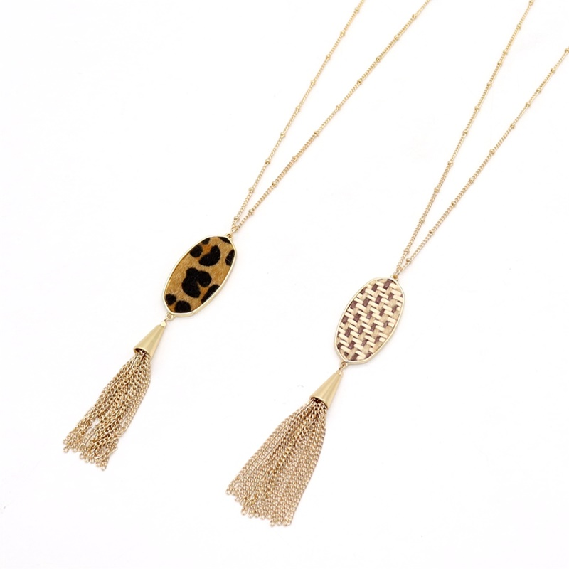 Sweater Necklace Jewelry Rope Braided Tassels Long-Chain Matched Hexagon Leopard Fashion