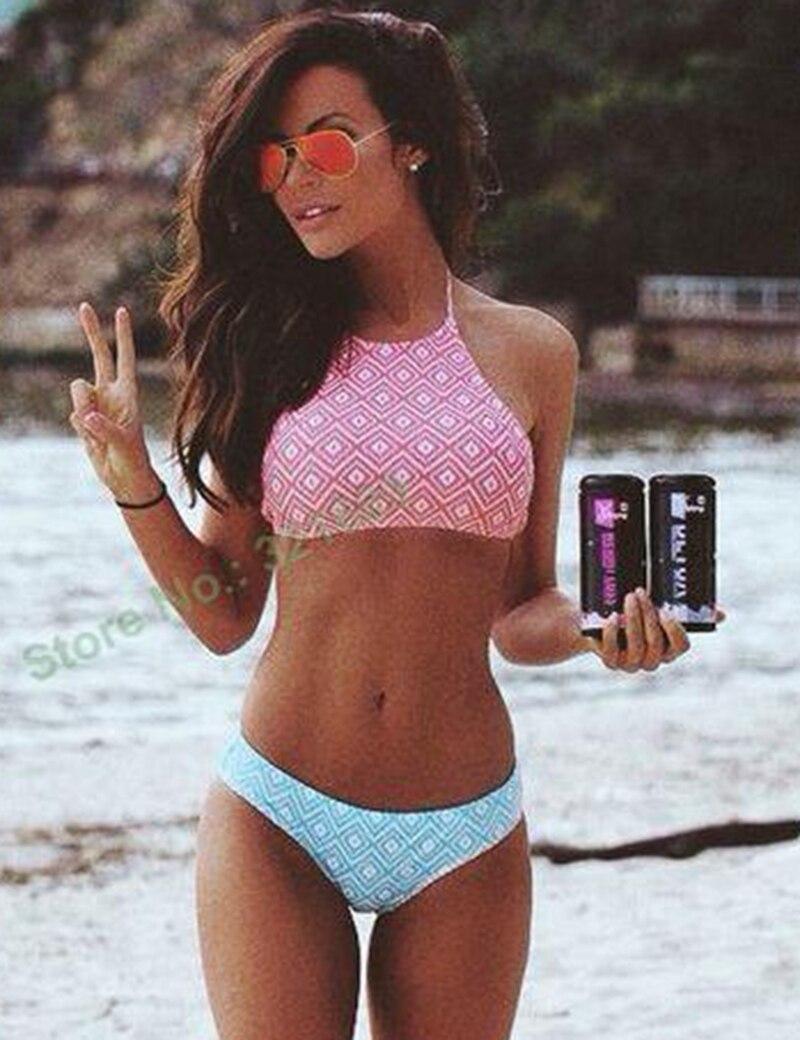 2016 plaid crop tops bikini padded tank tops bikini print plaid swimwear constrast color bathing suits high neck halter bikini