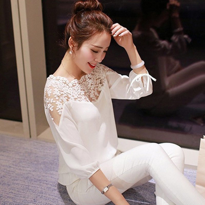 2019 Hot Sell Fashion Women Three Quarter Sleeve Lace Hollow Collar Chiffon Blouse Crop Ladies Girl White Black Cosy Tops Shirts