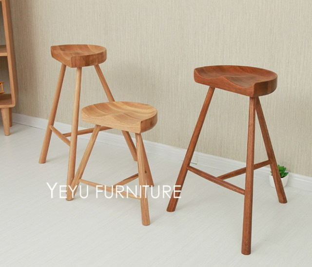 Fashion Por Modern Design Solid Oak Wood Bar Stool Low Counter Kitchen High Full