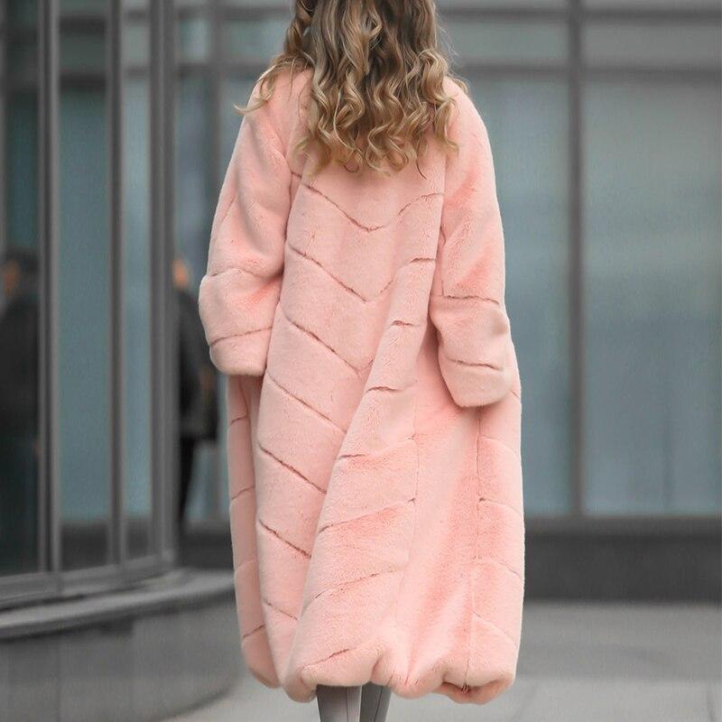Longue Naturelle Lapin Plus Femmes Luxueux De Casual Veste La Fourrure Col Réel Couleur D'hiver Rose Taille Topfur Manteau 7q1zXq