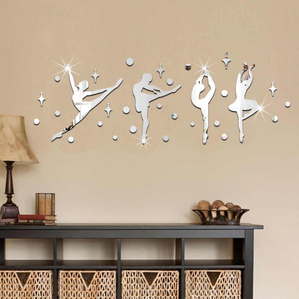 34 шт./компл. 3D акриловая зеркальная поверхность стены Стикеры балетные костюмы для танцев для маленьких девочек дизайн материал: акрил 60067