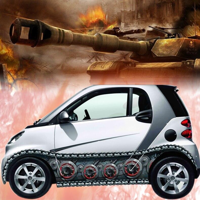 Voiture style 3D voiture autocollant Auto corps réservoir chaîne autocollants autocollants vinyle Wrap changer couleur Film bâches de voiture pour Smart