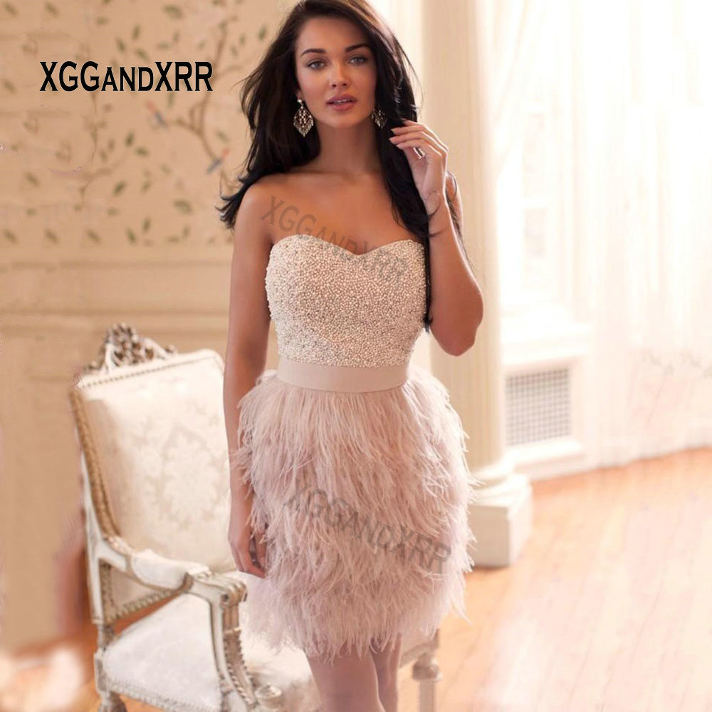 Sexy Straight Pink   Cocktail     Dresses   2018 Luxury Sweetheart Beading Satin Feathers Short Prom   Dress   Backless Mini Party Gowns
