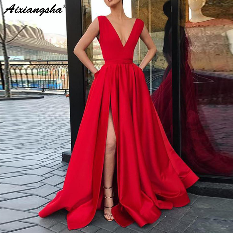Elegant V-Neckline Satin Burgundy Prom Dress 2018 vestidos de festa High Slit Evening Party Sleeveless Long Prom Dresses Neckline