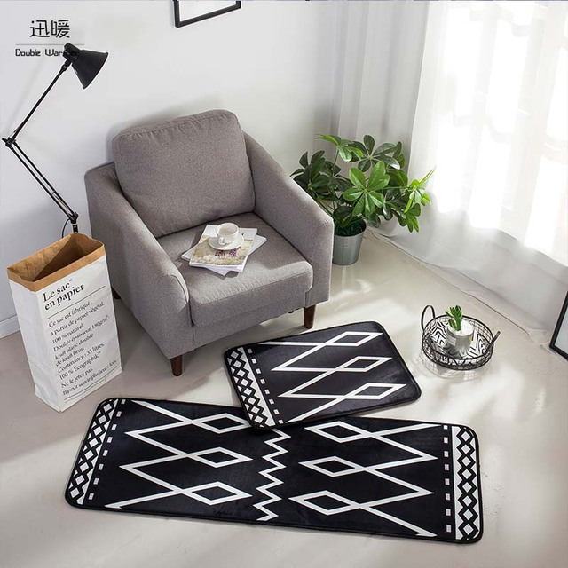 Artistic Floor Mats For Home Kitchen Entrance Rug Indoor Black And White  Doormat Bath Mat Non