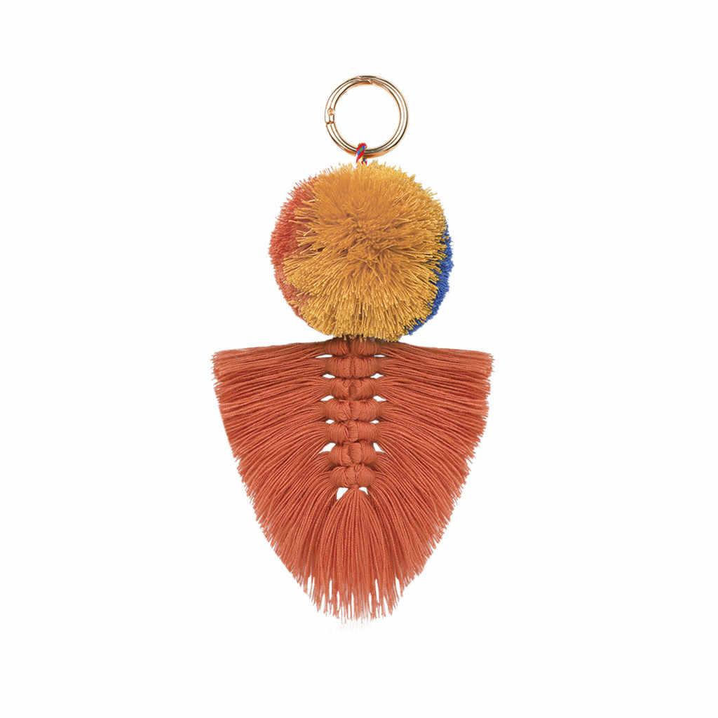 Chaveiro moda feminina em camadas colorido boho pom pom borla saco charme chaveiro jóias chaveiro chaveiro remover antes de lutar