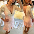 Pink And White Lace Mermaid Short Cocktail Dresses 2017 Pearls Sexy V-Neck Graduation robe de cocktail Summer Girl Party Dresses