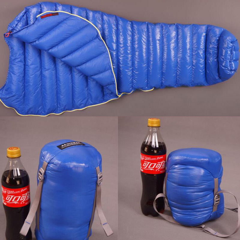 Hot Sales Blue Famous Aegismax outdoor ultralight mummy type white Goose down camping spring and autumn sleeping bag 600g DHL