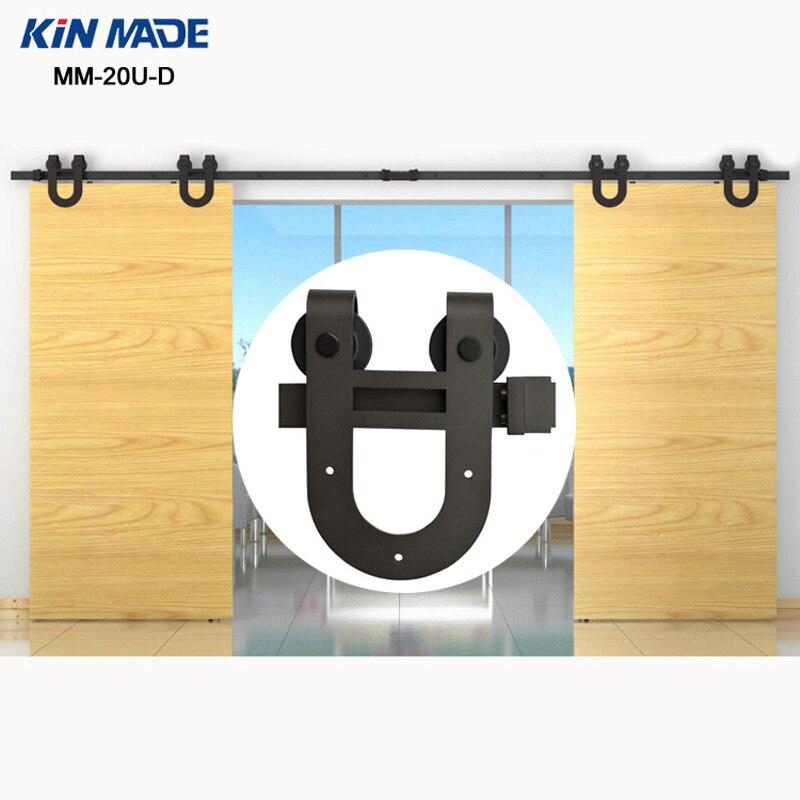KIN MADE  10/12/13FT MM-20U-D  Bi-parting  Horseshoe Design Double Sliding Barn Door Wooden Sliding Hardware Full Kit