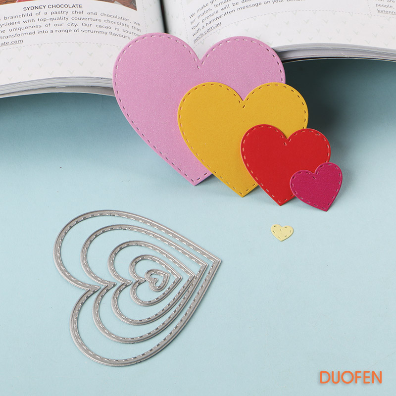 040180 6pcs Stroked Hearts Stencil Metal Cutting Dies For DIY Papercraft Project Scrapbook Paper Album Greeting Cards