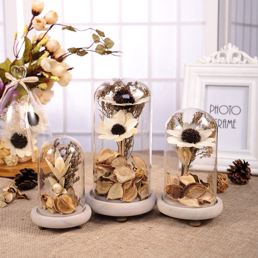 Dried Flowers Creative Terrarium Vase With Gold Flowers 1