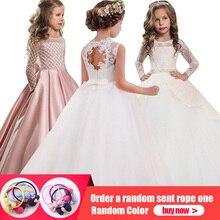 a5d621f22d Detaliczna wysokiej jakości haft kwiat szyi eleganckie dziewczyny suknia  ślubna z łuk Rhinestone pas dziewczyny długa sukienka n.