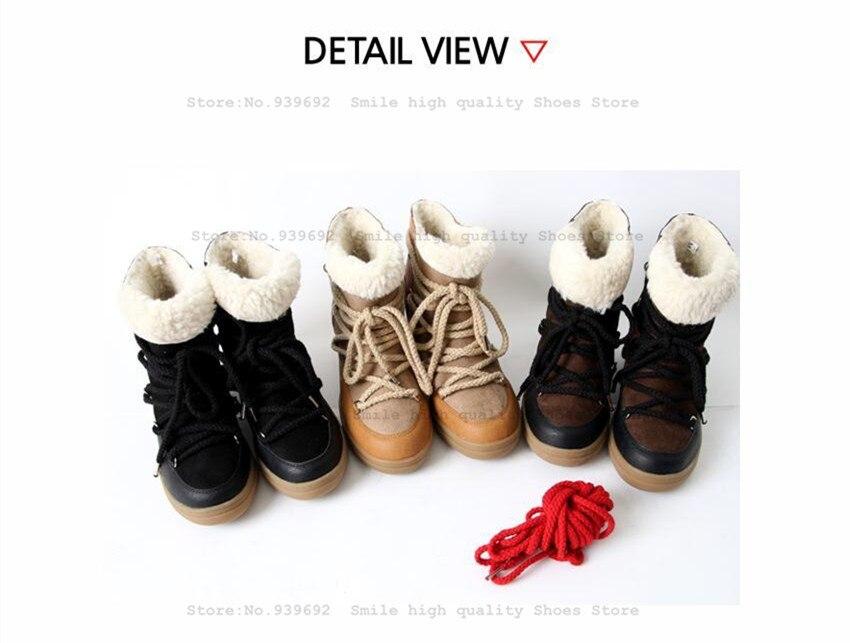 Sourire Cercle Hiver Bottes Femmes Chaussures Coins Cachés Bottes Ascenseur Dentelle-up Casual Chaussures Pour Femmes Cheville Bottes Wedge sneakers - 5