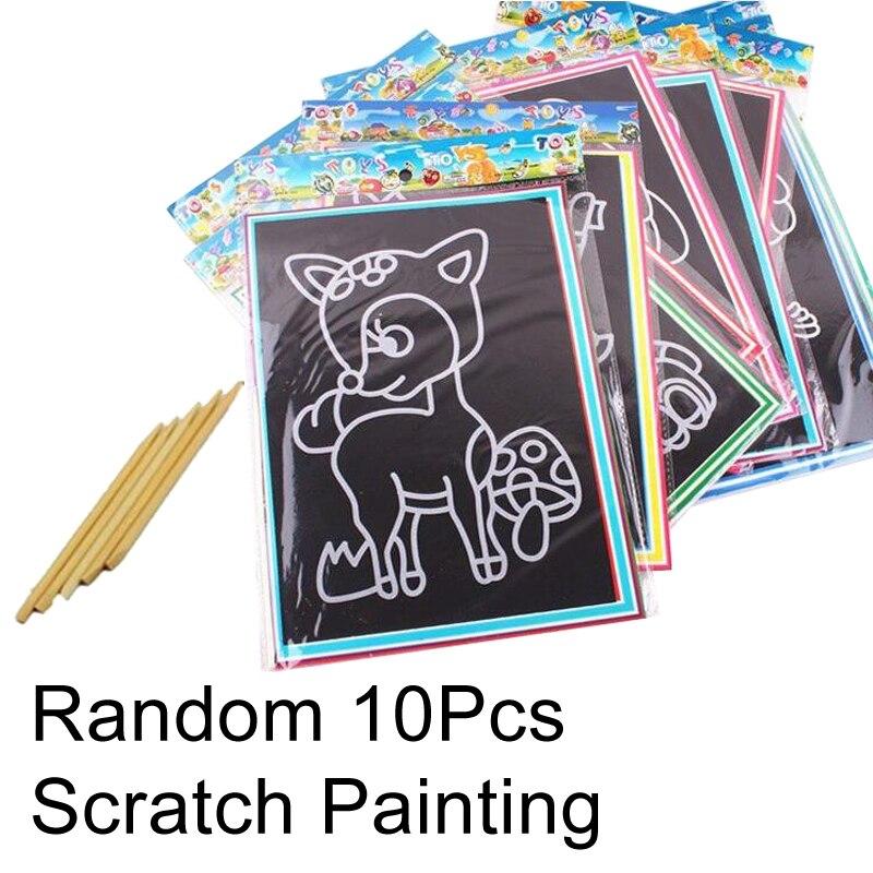 20 шт/10 шт магический скретч-арт-блокнот для рисования песком карты для раннего обучения, творческие игрушки для рисования для детей GYH - Цвет: 10S Scratch painting