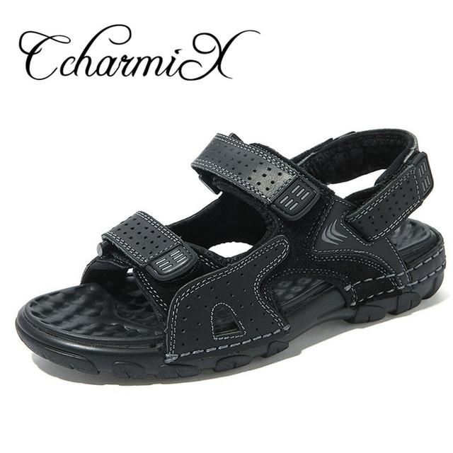 CcharmiX Genuine Leather Summer Mens Sandals Hoop Loop Massage Beach Men s  Sandals Outdoor Men Sandles Man Footwear Black Brown 4f59646a391e