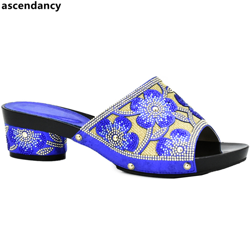 New Arrival Blue Slip On High Heel Women Pumps African Shoes For Parties Wedding Sexy Pumps For Women African Ladies Party Shoes